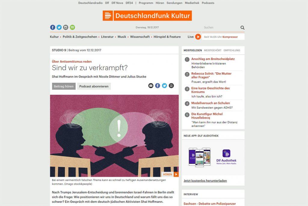 Deutschlandfunk Kutlur – Über Antisemitismus reden