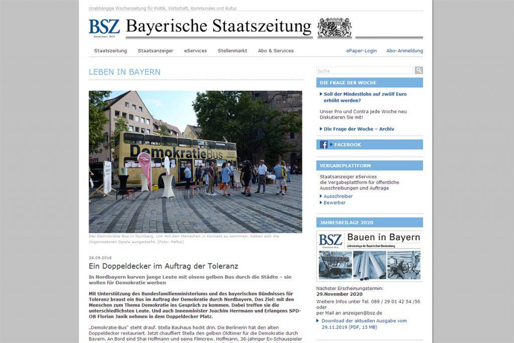 Bayerische Staatszeitung - Ein Doppeldecker im Auftrag der Toleranz