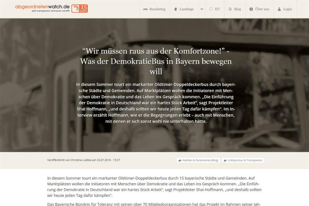 abgeordnetenwatch.de Was der Demokratiebus in Bayern bewegen will
