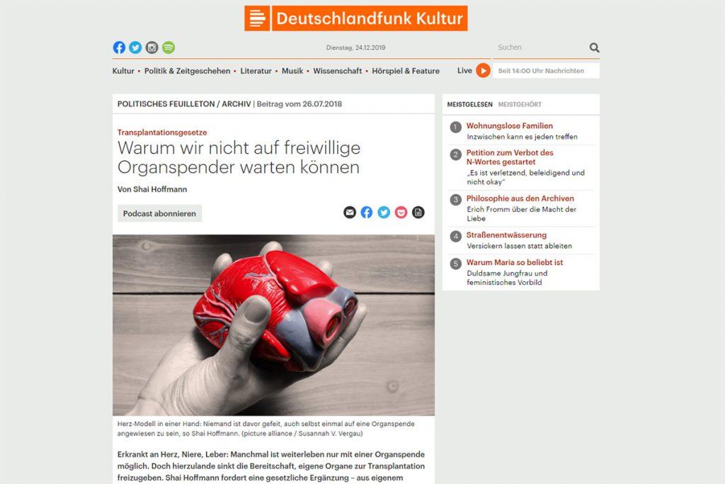 Deutschlandfunk Kultur - Transplantationsgesetze