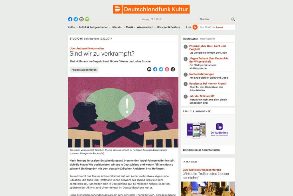 Deutschlandfunk Kultur – Interview mit Shai Hoffmann