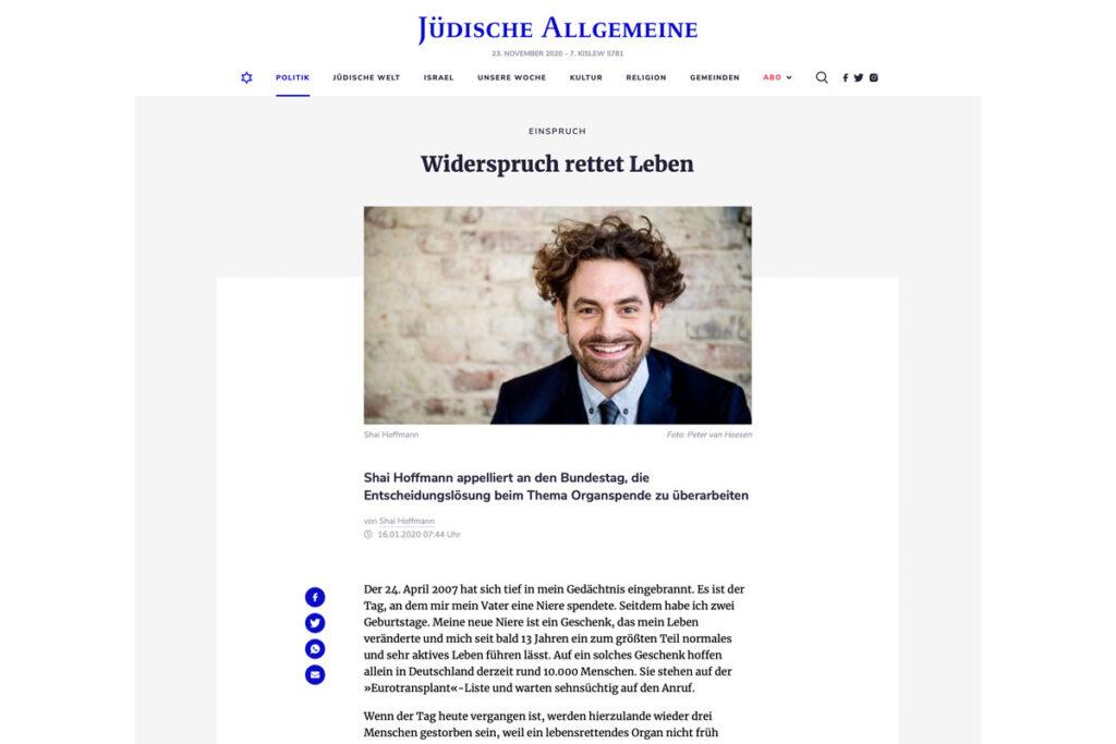 Jüdische Allgemeine – Widerspruch rettet Leben
