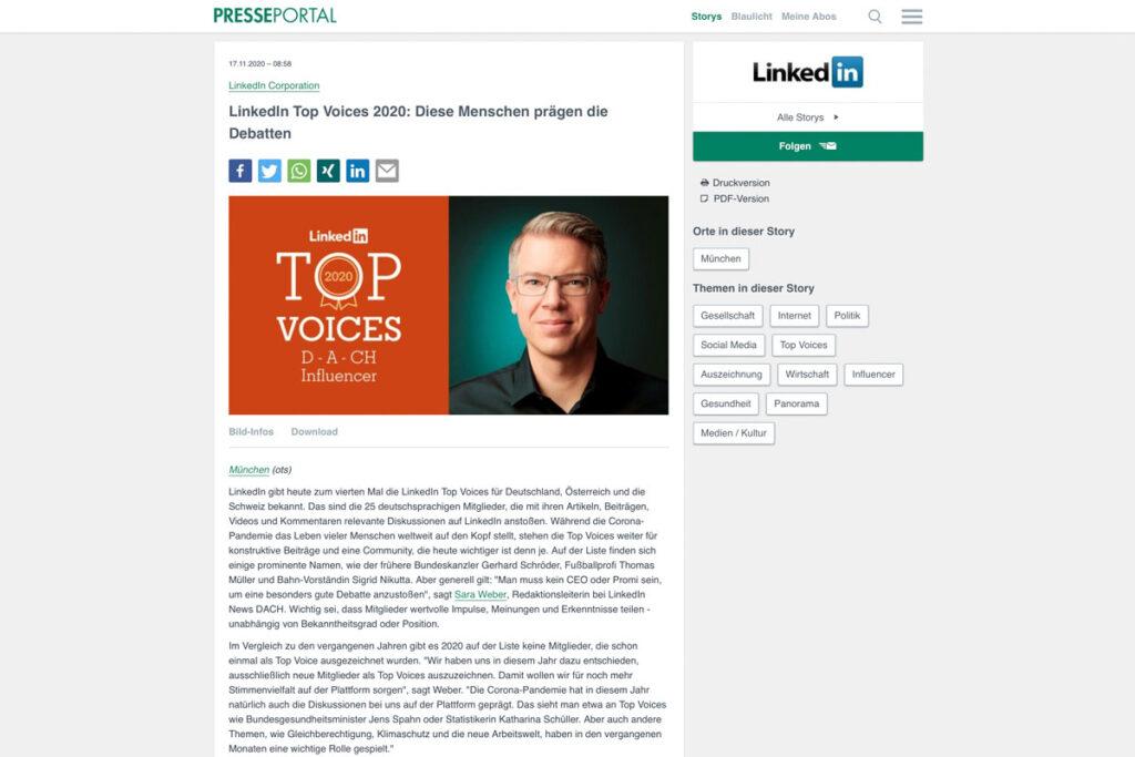 Presseportal – LinkedIn Top Voices 2020